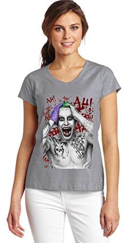 Suicide Squad Jared Leto Joker-Maglietta con collo a V, da donna, con grafica grigio small