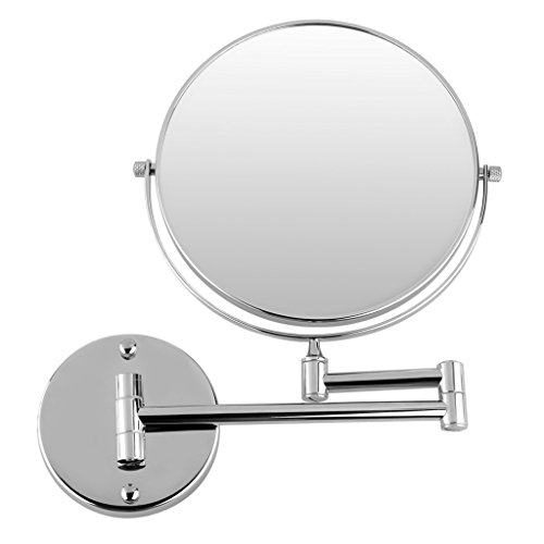 Excelvan 10x Magnification 8 Inch Double-Sided Swivel Wall Mount Makeup Mirror, 12 Inch Extension, Polished Chrome Finished