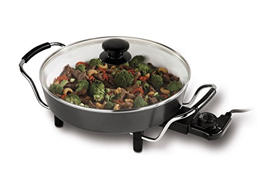 Oster CKSTSK12WC-ECO DuraCeramic Round Electric Skillet, 12-Inch, White