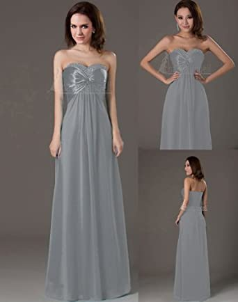 Promithi Women's Long Dresses Bridesmaid Evening Party Formal Prom Dress Gown (US 4/EUR 34, grey)