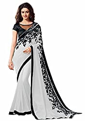 TreadIndia Women's Georgette white Embrodery work saree