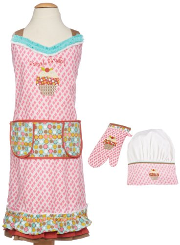 MUkitchen MiniMu Kids 3-Piece Cotton Chef Set with Apron, Hat and Mitt, Sweet Stuff (Chef Apron Hat Kids compare prices)