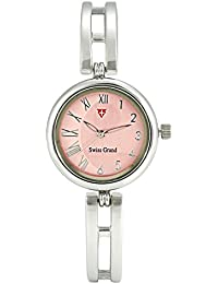 Swiss Grand SG-1178 Silver Pink Coloured With Silver Leather Strap Analog Quartz Watch For Women