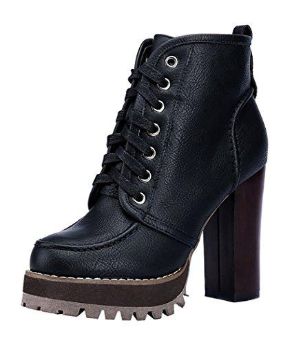 INDEX Women's Rough High-Heels Platform Lace-up Closure Shoes