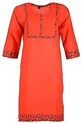 Fashion Web Women's Cotton Regular Fit Kurta (Red, X-Large)