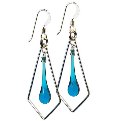 Turquoise Sundrop Kite Earrings, glass and sterling silver