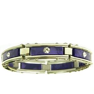 Purple Marble Link Bracelet with Cubic Zirconia Stones