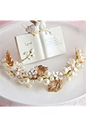 Wedding Bridal Flower Crystal Pearl Gold Hair Accessories Headband Crown Tiara Jewelry