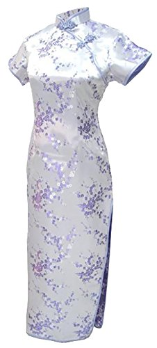 7Fairy Sexy Women's lilac Floral Long Chinese Evening Dress Cheongsam Size 6 US