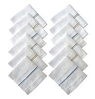 S4S 100% Cotton Striped Handkerchiefs (Pack of 12)