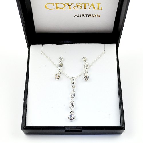 Austrian Crystal Drop Design Necklace & Earring Set in Black Gift/Presentation Box.