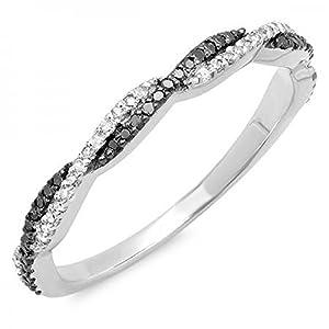 0.25 Carat (ctw) 14K White Gold Black & White Diamond Ladies Wedding Band 1/4 CT (Size 9)