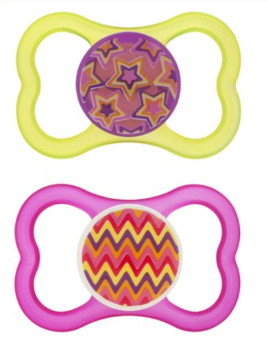 MAM AIR BPA Free Orthodontic Silicone Pacifiers, 2 Per Pack(assorted Colors)