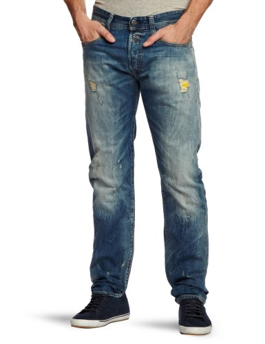 Replay Newdoc R Straight Men's Jeans Mid Tone Distressed W34INxL34IN