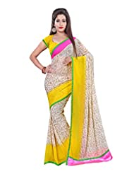 Fabdeal Yellow And White Georgette Printed Saree Sari Sarees