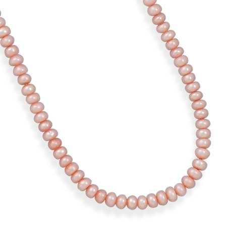 13 Inch+2 Inch Extension Pink Cultured Freshwater Pearl Necklace