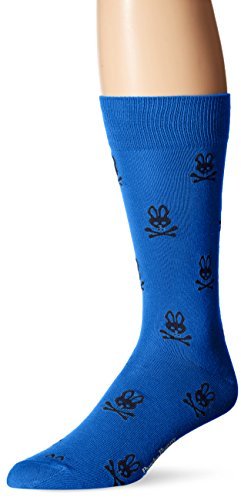 Psycho Bunny Men's All Over Logo Crew Sock, Larkspur, 10-13/Shoe Size 6-12 Over Logo Sock
