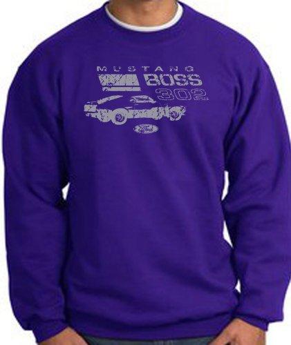 Ford Car Distressed Mustang Boss 302 Classic Adult Sweatshirt - Purple, 3Xl