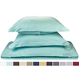 #1 Amazon Best Seller, 3-Piece Duvet Cover /1 Comforter Cover,- with 2 shames, (King Solid Aqua-Lght Blue,) By Nestl Bedding Supplies,