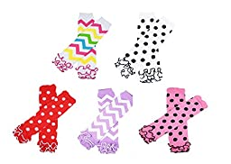 Ship From USA--HipGirl Baby Leg Warmers for Babies, Toddlers and Children (5 Pairs Chevron & Dots Set)