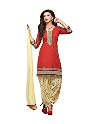 Banorani Women Red & Cream Color Jacquard & Cotton Casual,Trendy,Wedding,Party,Festive,Office ,Lace, Embroidered & Unstitched Salwar Suit Dress Material