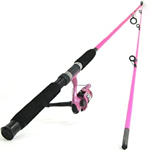 Ftd fladen festival pink fishing rod pink power 100 for Pink fishing reel