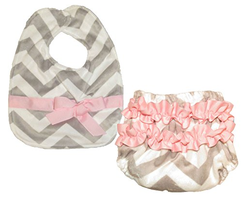 Caught Ya Lookin' Bib and Bloomer Set, Grey and White Chevron with Light Pink Ribbon