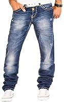 Cipo & Baxx Herren Jeans Cargo Denim Hose Chino Clubwear Verwaschen Dicke Naht Blau / L30 - L32 - L34 - L36 / W29 - W38 / C-0688