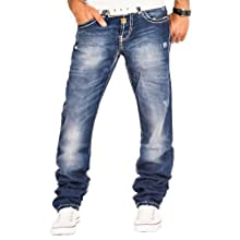 Cipo & Baxx Herren Jeans Cargo Denim Hose Chino Clubwear Verwaschen Dicke Naht Blau / L30 – L32 – L34 – L36 / W29 – W38 / C-0688