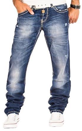 Cipo & Baxx Herren Jeans Cargo Denim Hose Chino Clubwear Verwaschen Dicke Naht Blau / L30 - L32 - L34 - L36 / W29 - W38 / C-0688 (W38/L32)