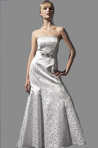 silver wedding gown dress, strapless, damask pattern
