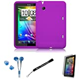 Purple Cover Protective Slim Durable Silicon Skin Case for HTC Flyer 3G WiFi HotSpot GPS 5MP 16GB Android OS AD2P 7 Inch Tablet Device + Includes a eBigValue (TM) Determination Hand Strap + Includes a Crystal Clear High Quality HD Noise Filter Ear buds Earphones Headphones ( 3.5mm Jack ) + Includes a Anti Glare Screen Protector