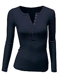 Women's Crew Henley Neck Long Sleeve T-Shirt