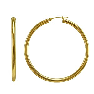 Bonded 14k Gold and Sterling Silver Polished Hoop Earrings, (2
