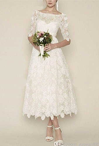 DreHouse Women's Vintage Lace Long Sleeve Wedding Dresses Tea Length 1