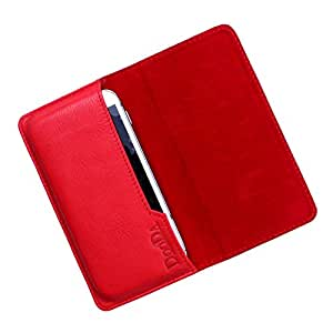 Dooda Genuine Leather Flip Pouch Case For Spice Stellar 362 (RED)