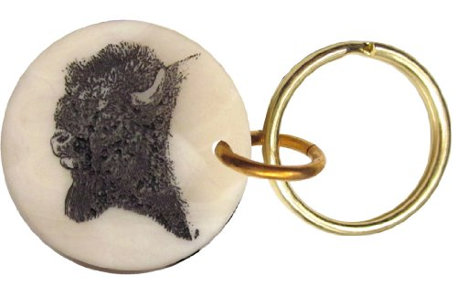 Montana Marble Etched Buffalo Bison Keychain