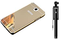 Novo Style Back Cover Case with Bumper Frame Case for Samsung Galaxy Note 3 Neo Golden + Wired Selfie Stick No Battery Charging Premium Sturdy Design Best Pocket SizedSelfie Stick