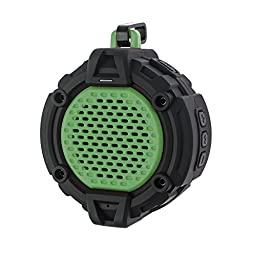 BlueFire Bluetooth 4.0 Outdoor Speaker w/ Mic, Hook & Flashlight - Waterproof Wireless Speakers for Bathroom, Office, Car, Camping, Bicycling(Green)