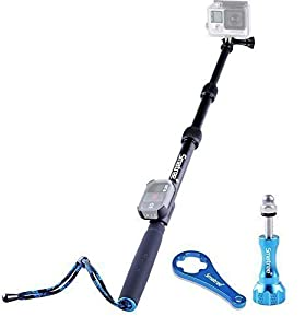 "Smatree SmaPole S2 All-aluminum Alloy Handheld Telescopic Pole with Aluminum Thumbscrew for GoPro Hero, Hero4 Session, Hero4 Black/Silver, 3+, 3, 2, 1 HD Cameras (15.8""-40.5"")"
