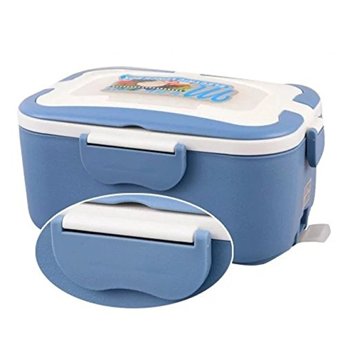 COFFLED 220V Electric Heating Bento Lunch Box,12V In-vehicle BPA-Free Plastic Food Storage Container for Adults&Kids,Super easy-to-carry Portable Meal Heater with Stainless Steel Tank(Blue color) (Usb Microwave compare prices)