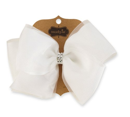 White Organza/Grosgrain Bow