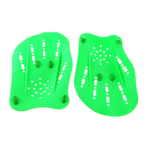 Green Plastic Swimming Hand Paddles Webbed Gloves Pair
