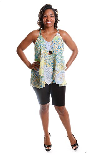 Hadari Women's Plus Size Floral Print Camisole And Basic Capri (2-Piece Outfit)