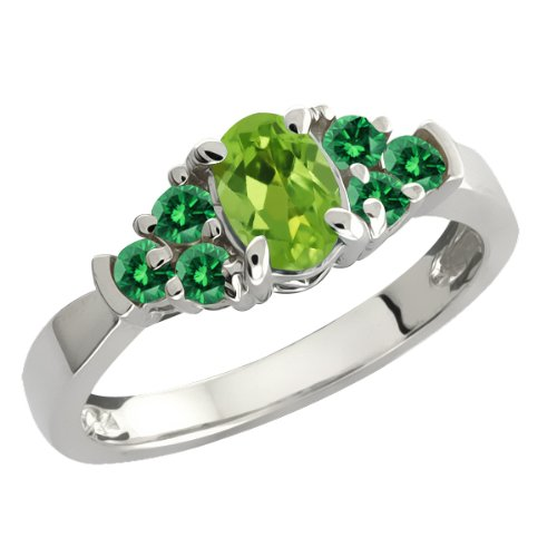 0.74 Ct Oval Green Peridot and Green Diamond Sterling Silver Ring