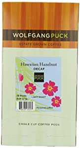 Wolfgang Puck Coffee Hawaiian Hazelnut Decaf Pods, 18-Count Pods