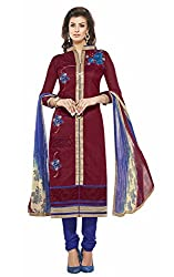 Vivel's Wine colour Straight Unstiched Chanderi Dress material