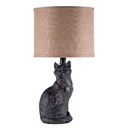 Black Cat Distress Finish Animal Table Lamp