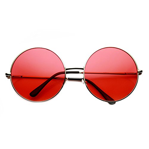 zeroUV - Womens Fashion Oversized Color Tint Lens Metal Circle Round Sunglasses (Red) (Red Circle Lenses compare prices)