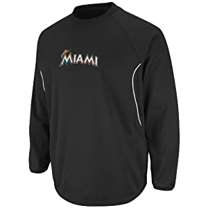 MLB Mens Miami Marlins Long Sleeve Crew Neck Thermabase Tech Fleece Pullover by... by Majestic